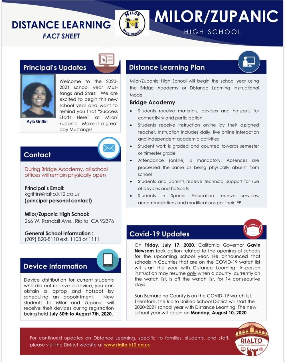 Distant Learning fact sheet. What you need to know regarding Distant Learning.