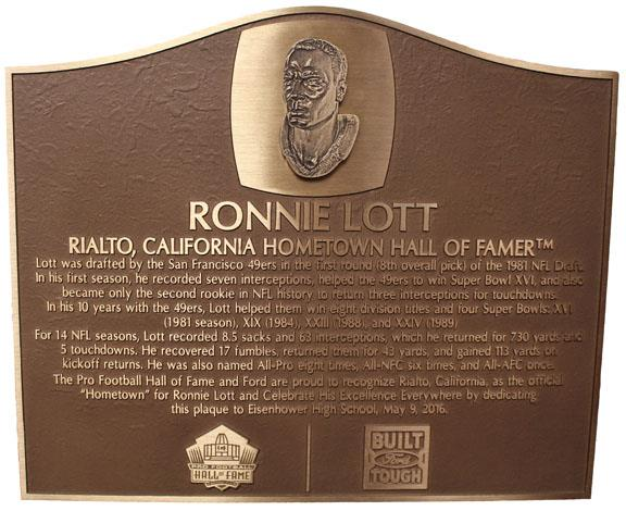 Ronnie Lott plaque