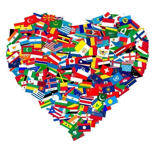 Heart filled with languages of the world