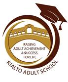 Rialto Adult School Logo, Round maroon and gold circle with a graduation cap on the top and the Rialto Bridge in the center.