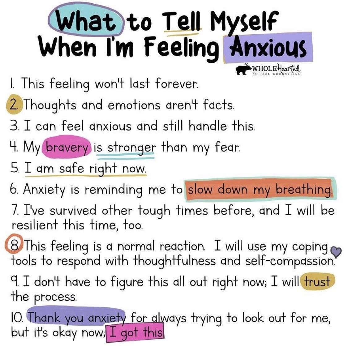 What to Tell Myself When I'm Feeling Anxious