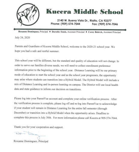 Letter to parent