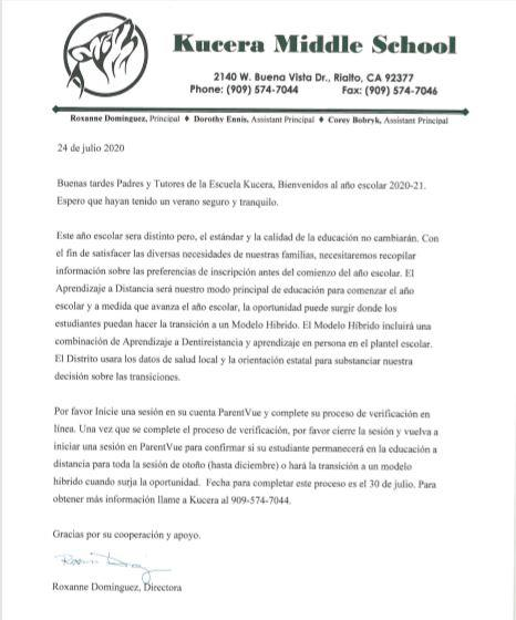 Letter to parent spanish