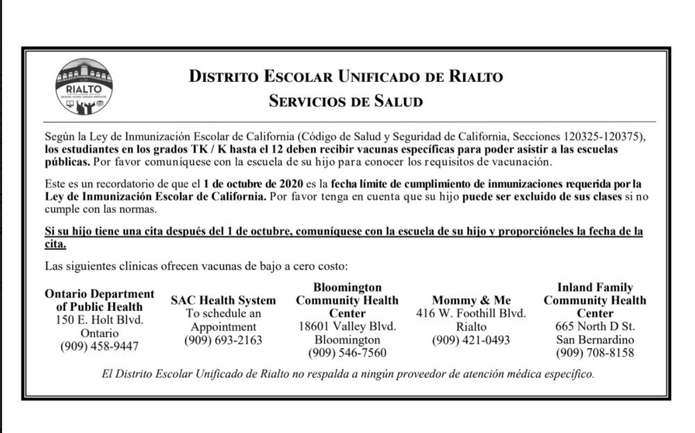 Immunization Locations in Spanish