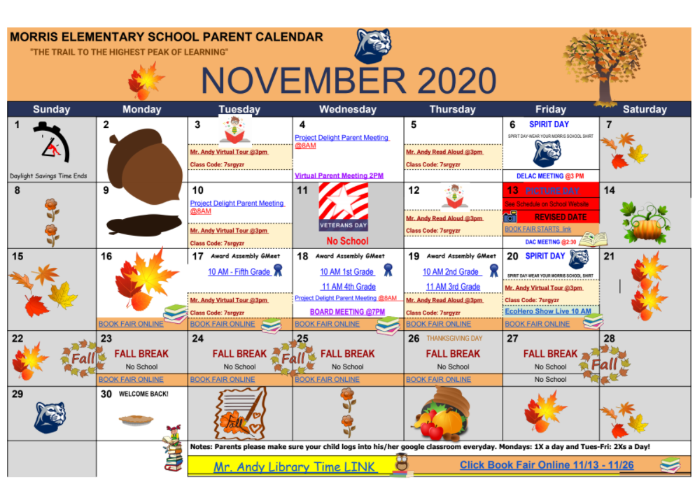School Parent Calendar November