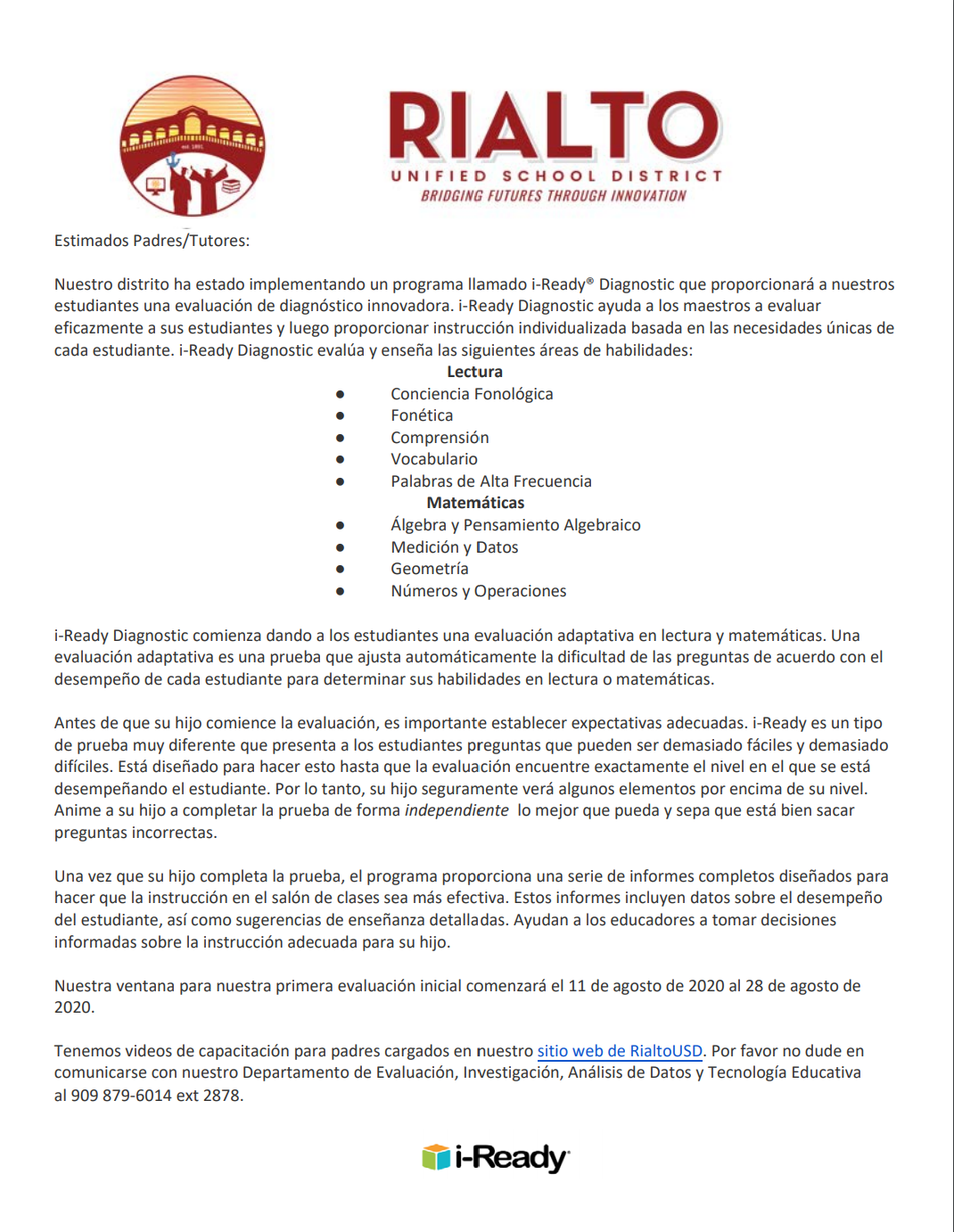 Iready Parent Letter Spanish
