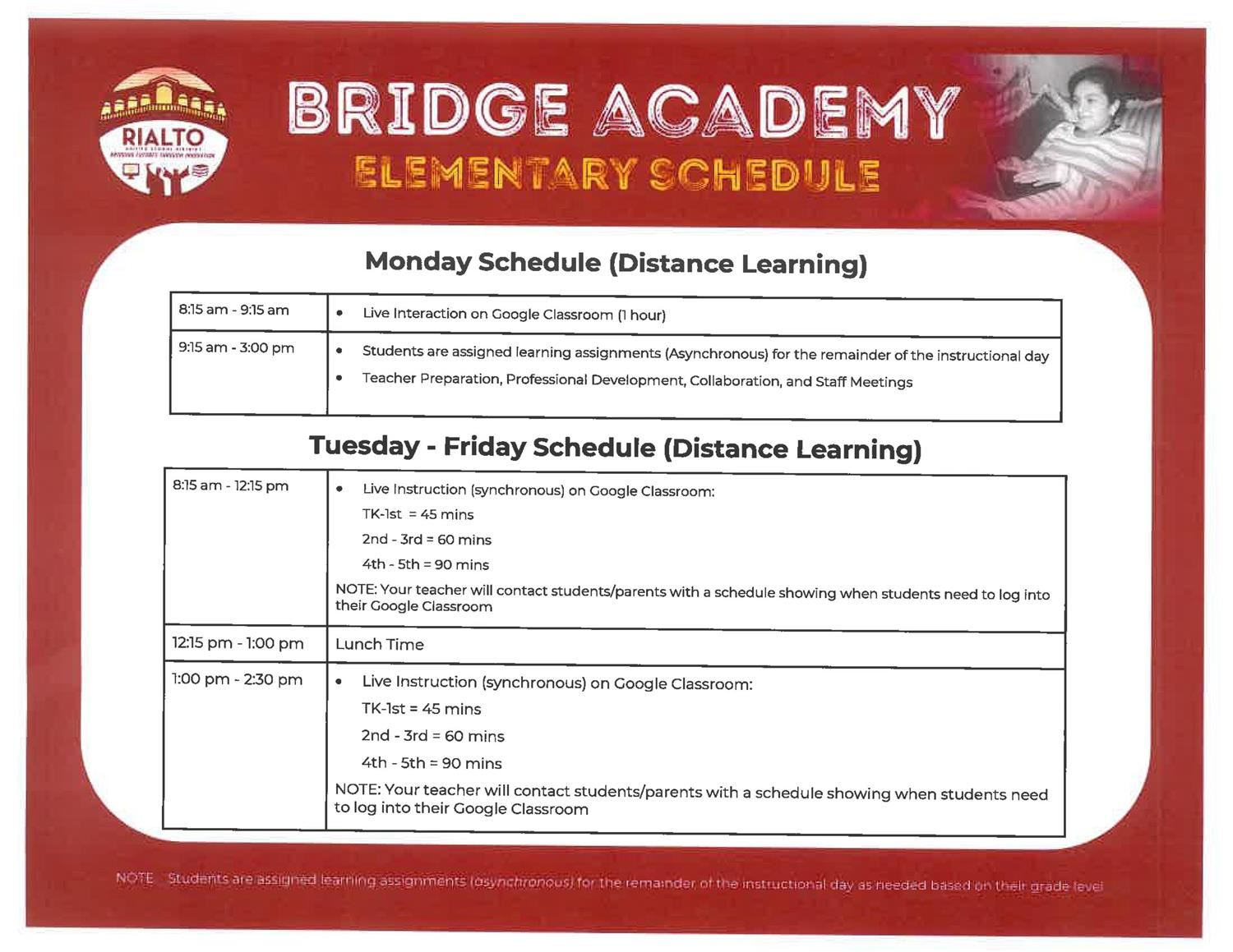 Bridge Academy Elementary Schedule
