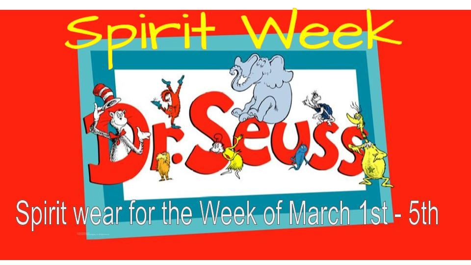 Spirit wear for the Week of March 1st - 5th